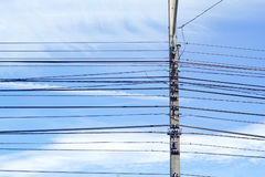 Electricity poles and wires Royalty Free Stock Photo