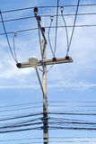 Electricity poles and wires Royalty Free Stock Photos