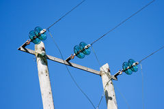 Electricity Poles with Wires and Green Glass Insul Stock Photography
