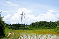 Electricity post. Electrical net of poles on a panorama of blue sky and green meadow royalty free stock images