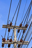 Electricity post agianst blue sky Royalty Free Stock Photography