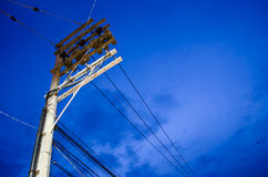 Electricity post in blue sky. Electricity post in deep blue sky Royalty Free Stock Photo