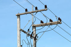 Electricity post on blue sky Stock Images