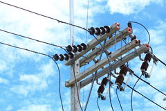Electricity post in blue sky background Stock Photo