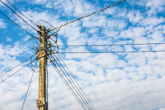Electricity post. With blue sky and cloud royalty free stock photography