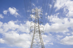 Electricity post in the blue sky stock image
