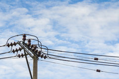 Electricity post on blue sky Royalty Free Stock Image