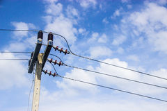 Electricity post in blue sky. At Thailand Royalty Free Stock Photos