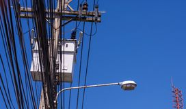 Electricity post with blue sky Royalty Free Stock Image