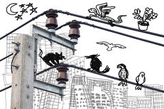 Electricity post with doodle drawing Royalty Free Stock Images