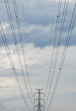 The electricity post and an electric line Stock Photos