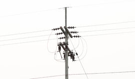 Electricity post. Erect power poles with wires attached and hanging wire. rope to hold it without falling Stock Images