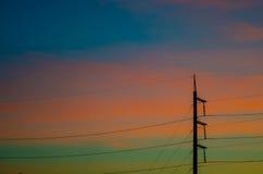 Electricity post. And Evening sun stock photos