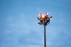 Electricity post at evening Stock Photo