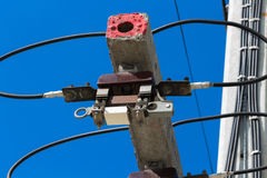 Electricity post with fuse Stock Photography
