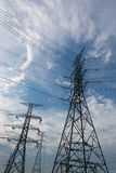 Electricity post. High voltage electricity post with equipment Stock Image