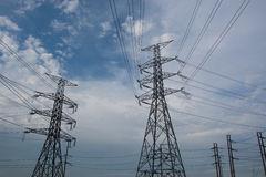 Electricity post. High voltage electricity post with equipment Stock Photo