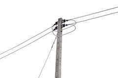 Electricity post isolated Stock Image