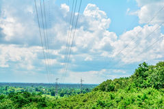 Electricity post landscape Stock Photo