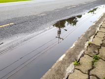 Electricity post and line reflect on the water-logged on the street. Electricity post and line reflect on the clear water-logged on the street Royalty Free Stock Photo