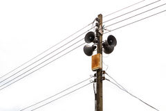 Electricity post with loudspeaker Stock Photo