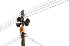 Electricity post with loudspeaker Royalty Free Stock Photo
