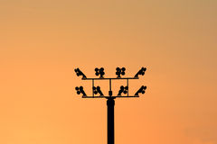 Electricity post with many wire, dreamy color background Royalty Free Stock Photo