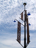 Electricity post. With perforated design stock photos