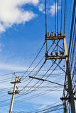 Electricity post and sky background. Of thailand Stock Photo
