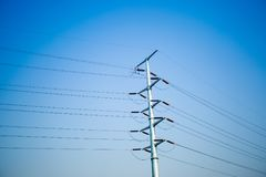 Electricity post with sky. Royalty Free Stock Photo
