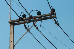 Electricity post. Top of electricity post wite equipment Royalty Free Stock Photo