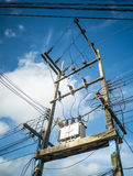 Electricity post and the transformer Royalty Free Stock Image