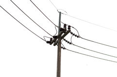Electricity post in white background. isolated Royalty Free Stock Image
