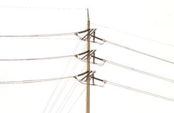 electricity post on white background. stock photos
