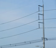 The electricity post with wire Royalty Free Stock Image