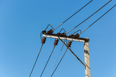 Electricity post. Wire on pole and blue sky background stock images