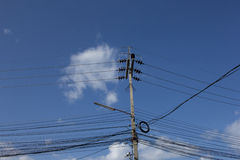 Electricity posts with many electric wires Royalty Free Stock Photography