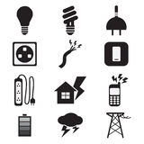 Electricity Power Black Icons Set. Illustration Royalty Free Stock Photo