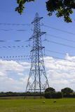Electricity power cables and pylons stretching across the English countryside as a vital part of the National Grid electricity dis Stock Photography