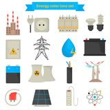 Electricity and power color flat icons set Royalty Free Stock Image