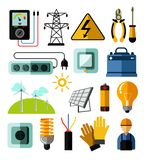 Electricity power and energy generation equipment and batteries tools. Electrician tools electricity power and energy generation equipment and solar batteries vector illustration