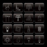 Electricity,  power and energy icons Royalty Free Stock Photo