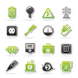 Electricity, power and energy icons Royalty Free Stock Image