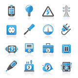 Electricity,power and energy icons Royalty Free Stock Photo