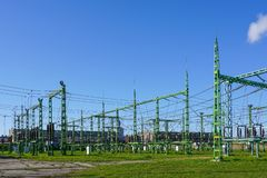 Electricity and power generation industry electric power transformation substation royalty free stock photography
