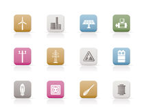 Electricity and power icons. Icon set Stock Images