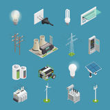 Electricity Power Icons Isometric Collection royalty free illustration