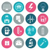 Electricity power icons set Royalty Free Stock Images