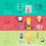 Electricity and power industry horizontal banners Royalty Free Stock Image