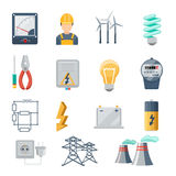Electricity and power industry icons flat vector. Set. Transformer and socket, plug and capacity, energy symbol, vector illustration Stock Images